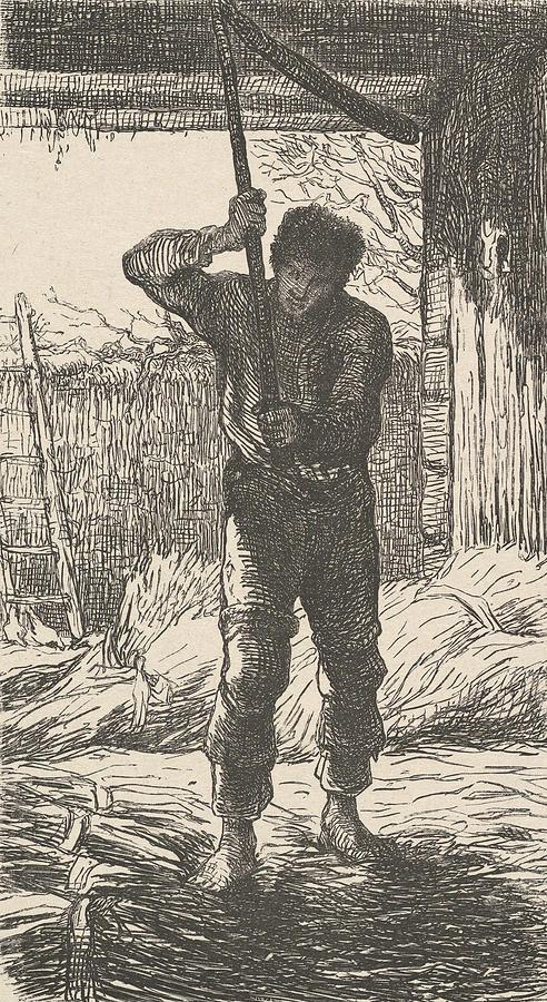 Man Threshing Wheat by Jean-Francois Millet