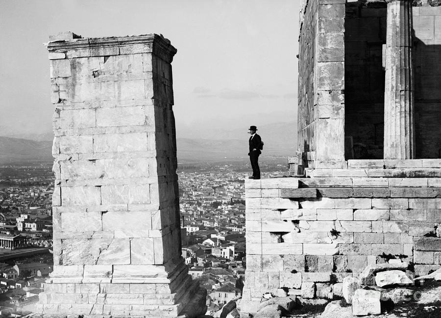 Man Viewing Athens From The Acropolis Photograph by Bettmann
