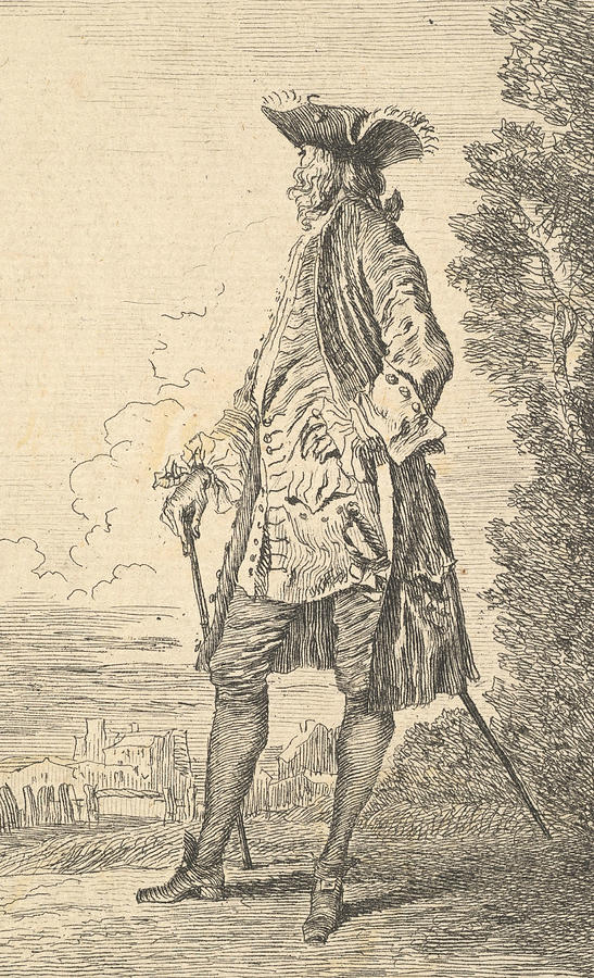 French Painters Relief - Man Walking And Carrying A Cane In His Right Hand, Shown In Three-quarters View With His Head Turned by Antoine Watteau