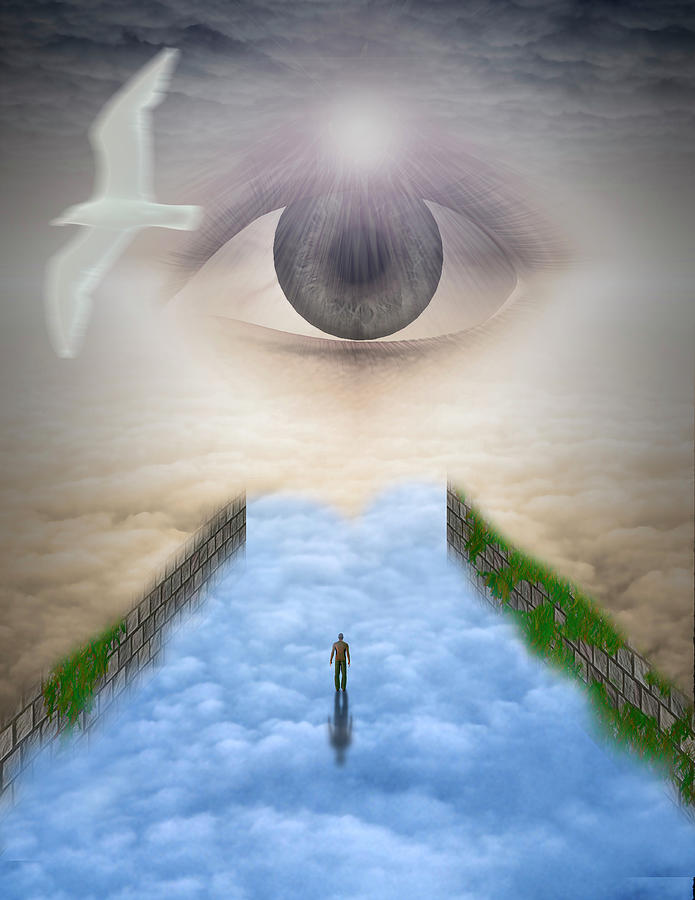 Man Walks On Clouds To The Eye by Bruce Rolff
