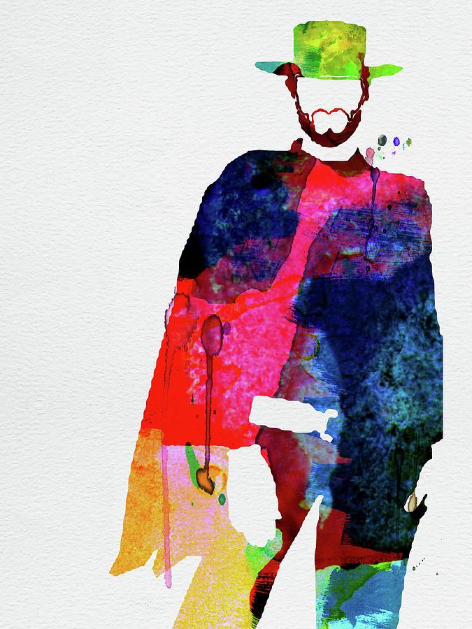 Movies Mixed Media - Man With No Name Watercolor by Naxart Studio