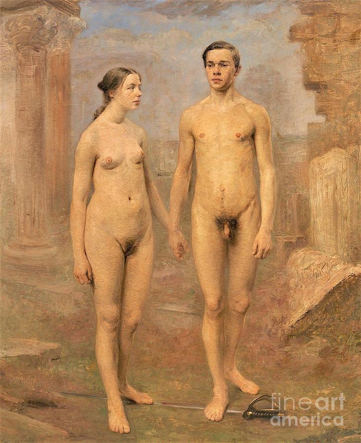 Man Painting - Man Woman Amid Ruins by Reproduction