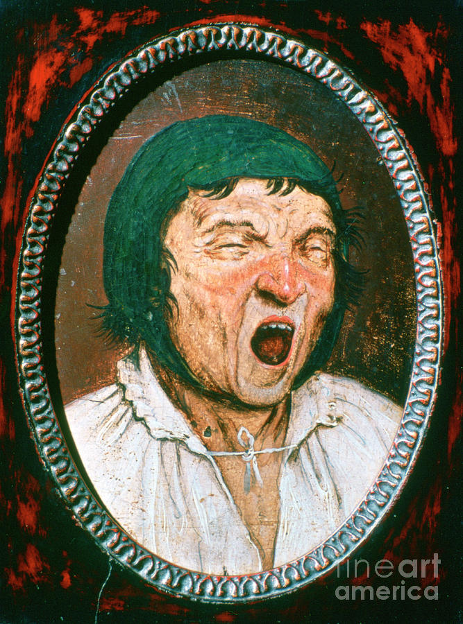 Man Yawning, C1545-1569. Artist Pieter Drawing by Print Collector