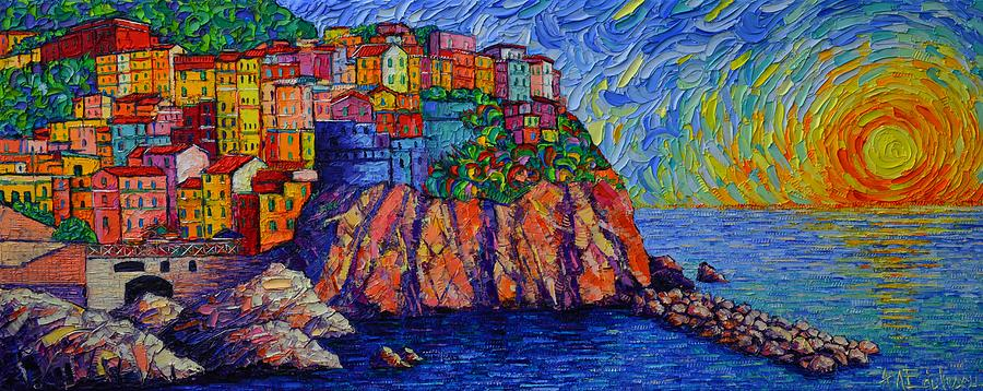 MANAROLA SUNSET CINQUE TERRE ITALY modern impressionism palette knife painting by Ana Maria Edulescu by ANA MARIA EDULESCU