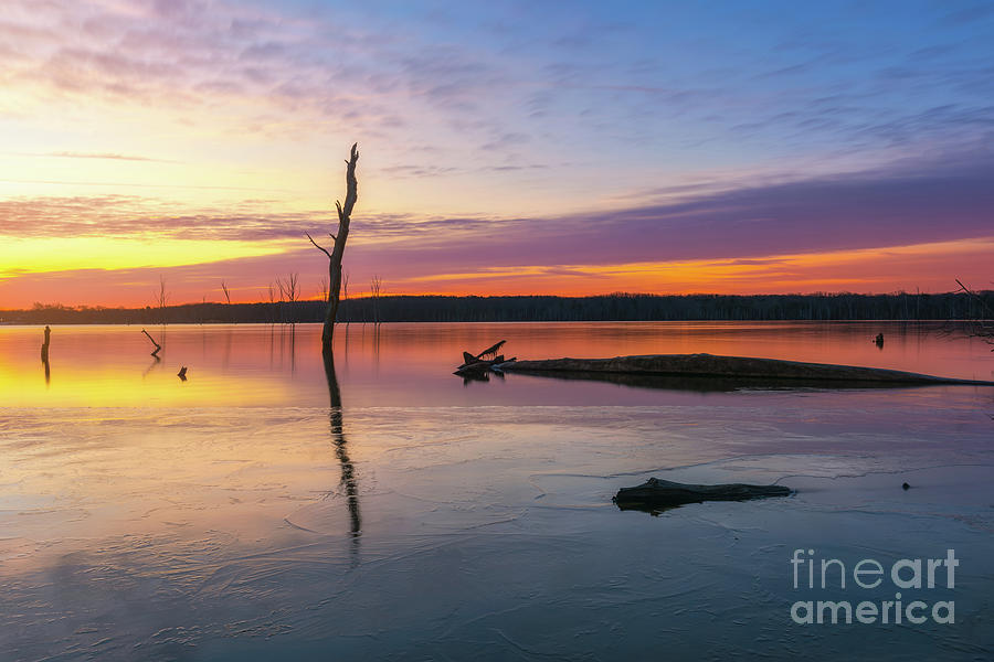 Manasquan Reservoir Icy Sunrise  by Michael Ver Sprill