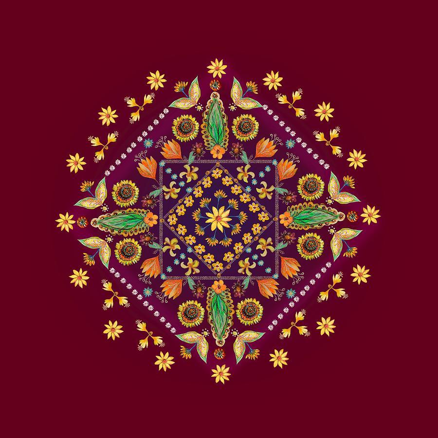 Mandala Digital Art - Mandala Flowering Series#2. Terracotta by Elena Kotliarker