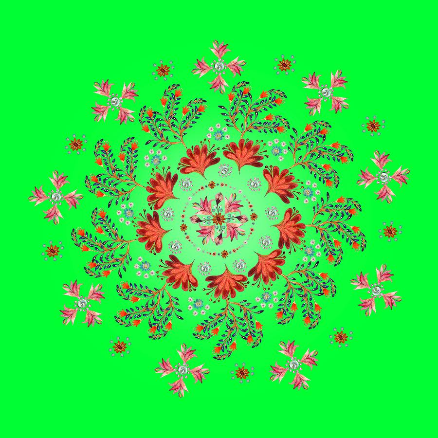 Mandala Digital Art - Mandala Flowering Series#3. Green by Elena Kotliarker