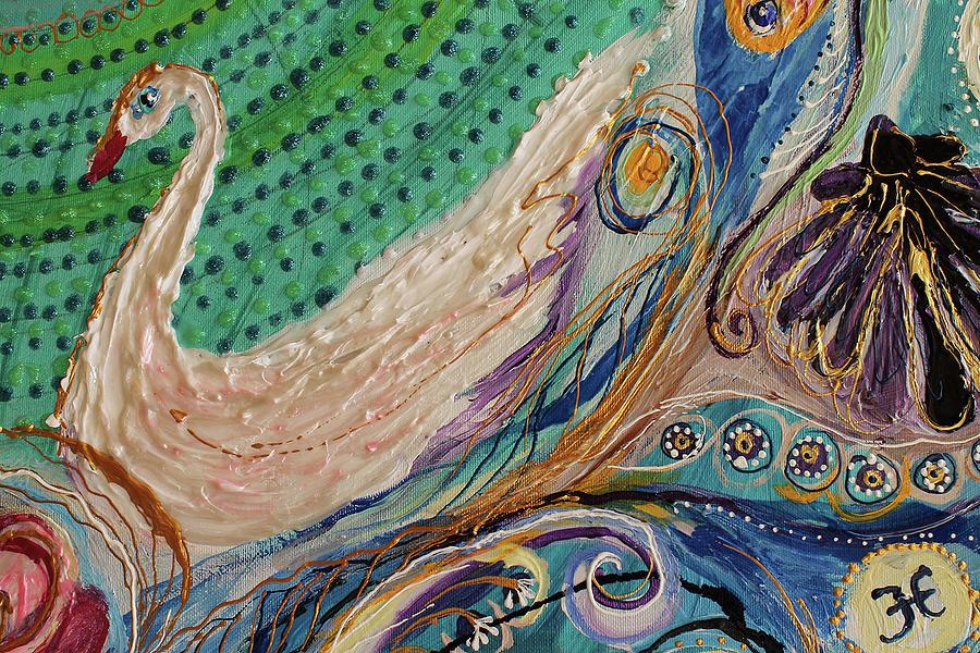 Mandala Painting - Mandala Series #1. Fragment #5 by Elena Kotliarker