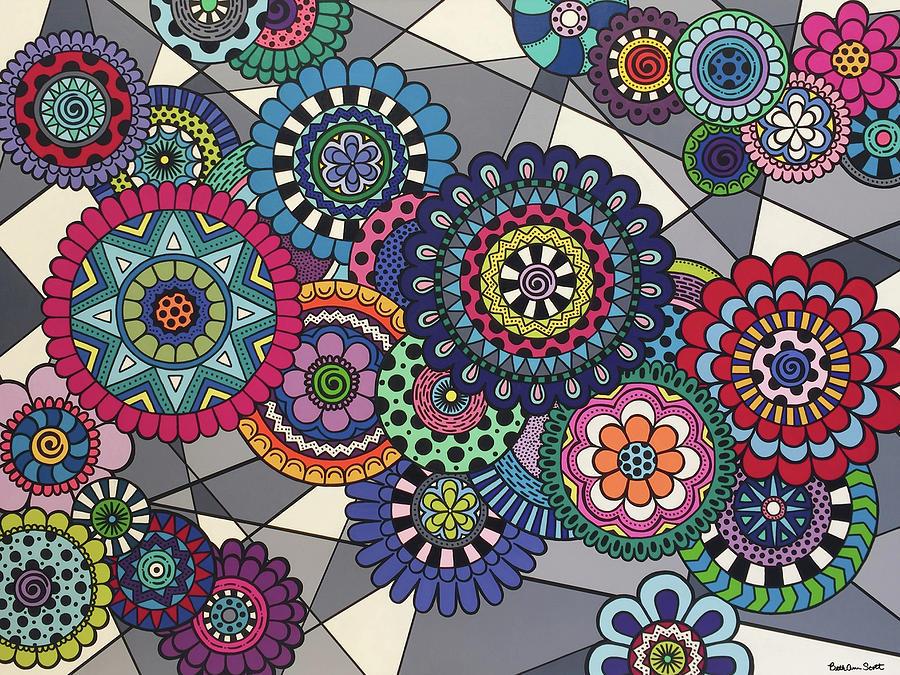 Mandala Painting - Mandalas In Bloom by Beth Ann Scott
