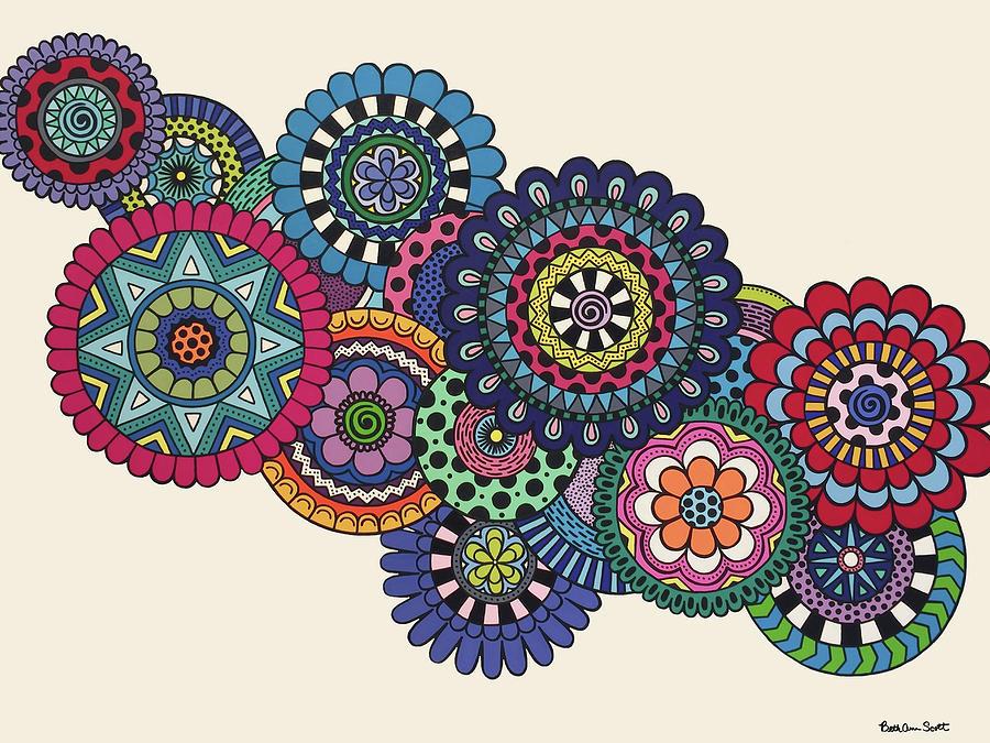 Mandala Painting - Mandalas On Ivory by Beth Ann Scott