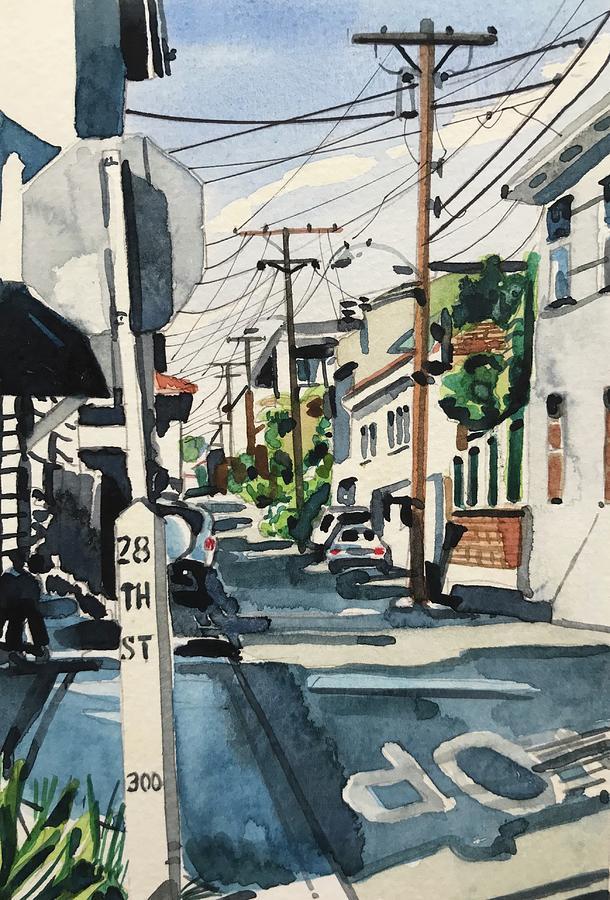 Manhattan Beach Painting - Manhattan Beach Street by Luisa Millicent
