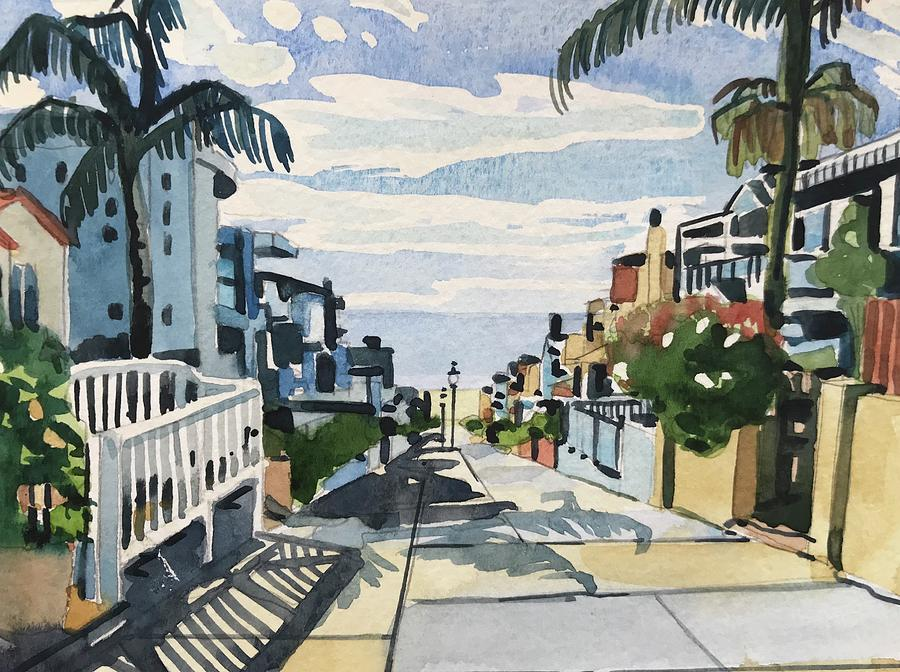 Manhattan Beach Painting - Manhattan Beach Walkstreet by Luisa Millicent