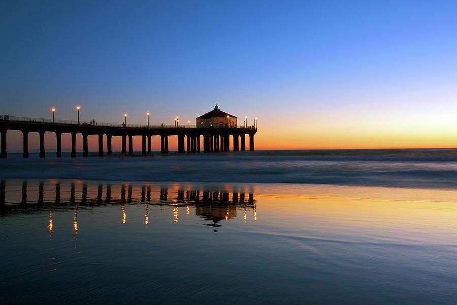Manhattan Beach Pier In Nighfall Photograph by Ekash