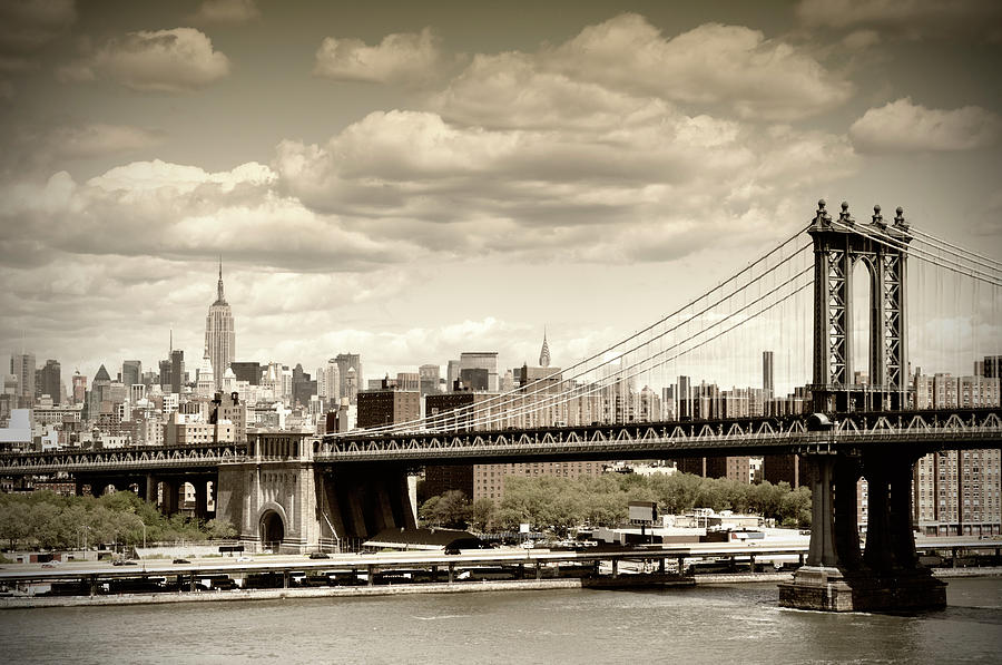 Manhattan Bridge, Nyc. Vintage Style Photograph by Lisa-blue