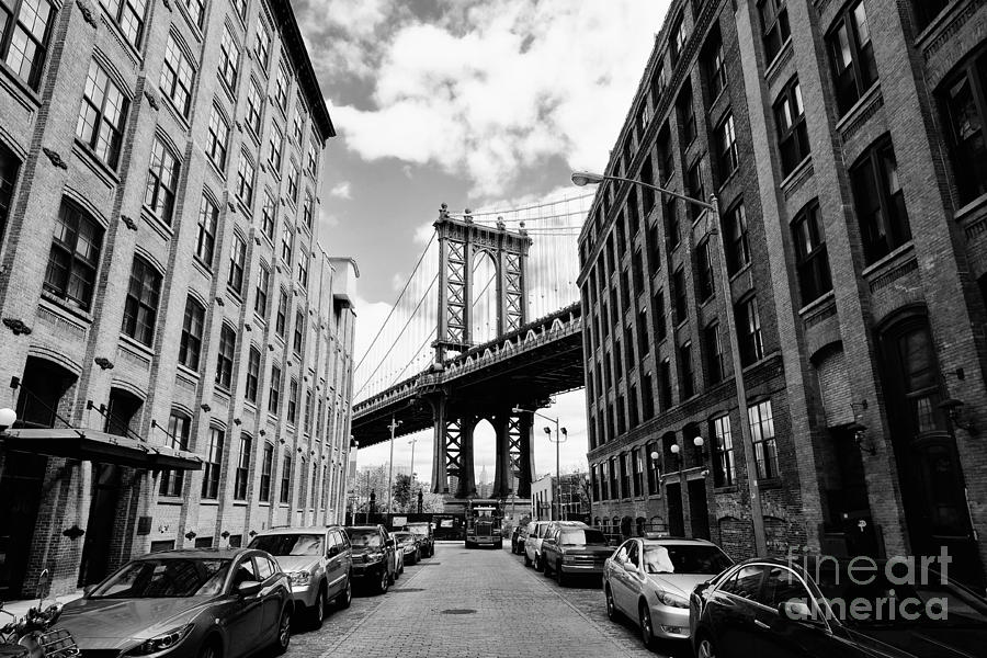 Usa Photograph - Manhattan Bridge Seen From A Brick by Youproduction