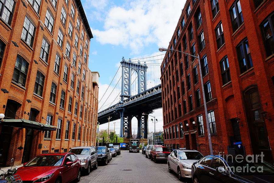 Usa Photograph - Manhattan Bridge Seen From A Red Brick by Youproduction
