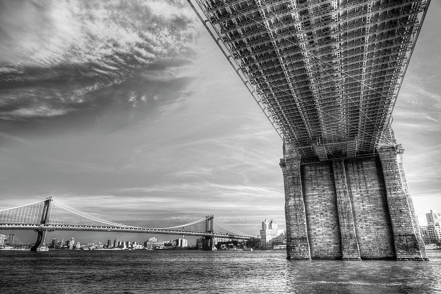 Manhattan Bridges And Brooklyn Bridges  by David Pyatt