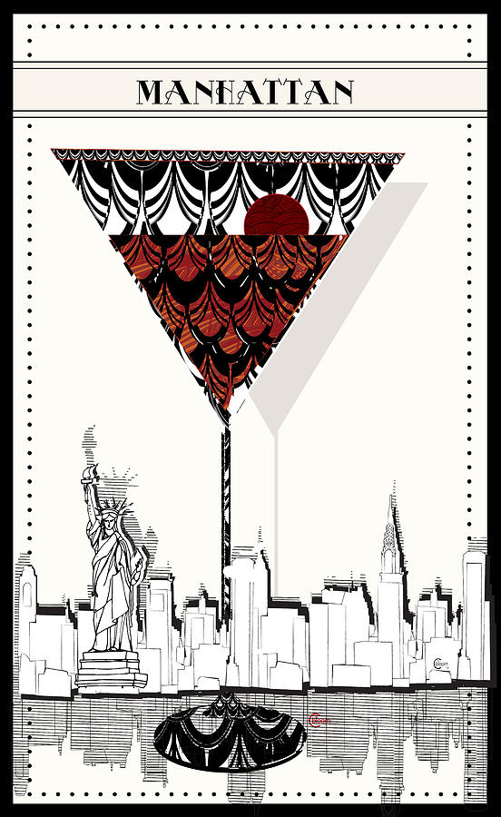 Manhattan Cocktail Pop Art Deco Painting By Cecely Bloom
