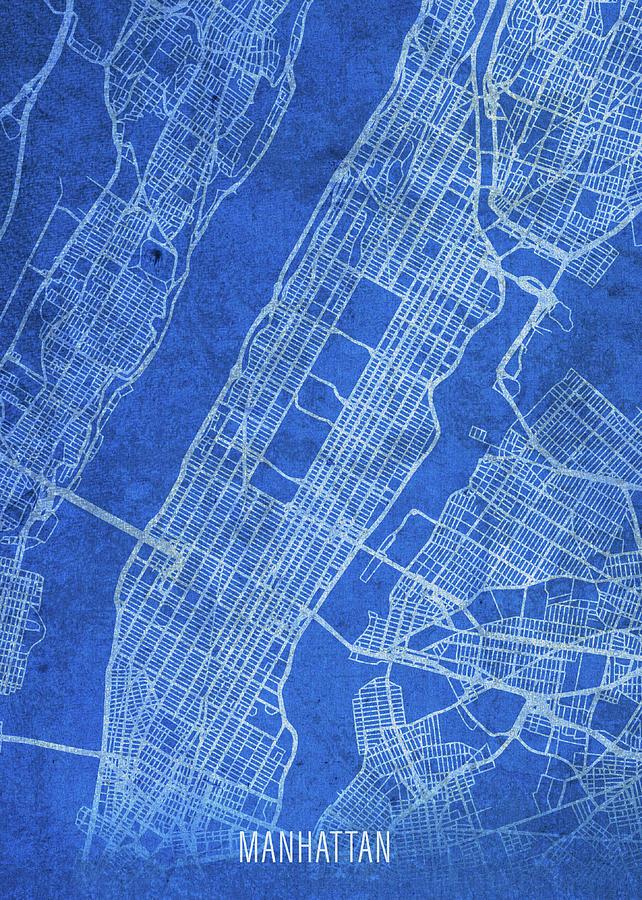 Street Map Of Manhattan New York.Manhattan New York City Street Map Blueprints By Design Turnpike