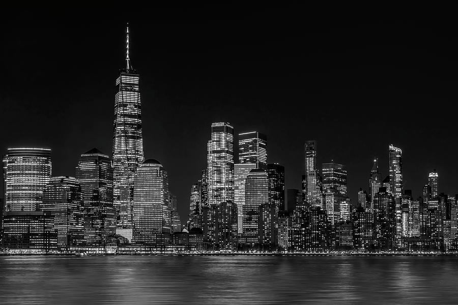 Manhattan NYC Skyline Twilight BW by Susan Candelario