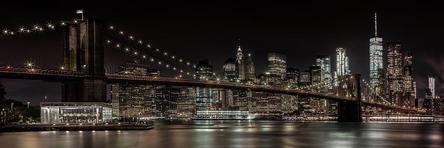 New York Photograph - Manhattan Skyline And Brooklyn Bridge Idyllic Nightscape - Panoramic by Melanie Viola