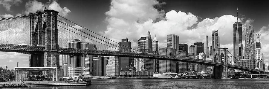New York Photograph - Manhattan Skyline And Brooklyn Bridge Panorama Monochrome by Melanie Viola