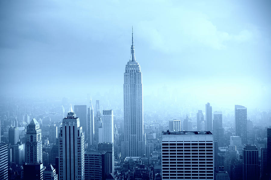 Manhattan Skyline In The Fog, Nyc. Blue Photograph by Lisa-blue