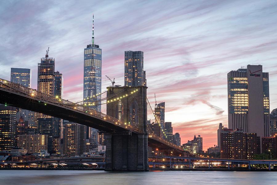 World Trade Center Photograph - Manhattan Sunset by Zawhaus Photography