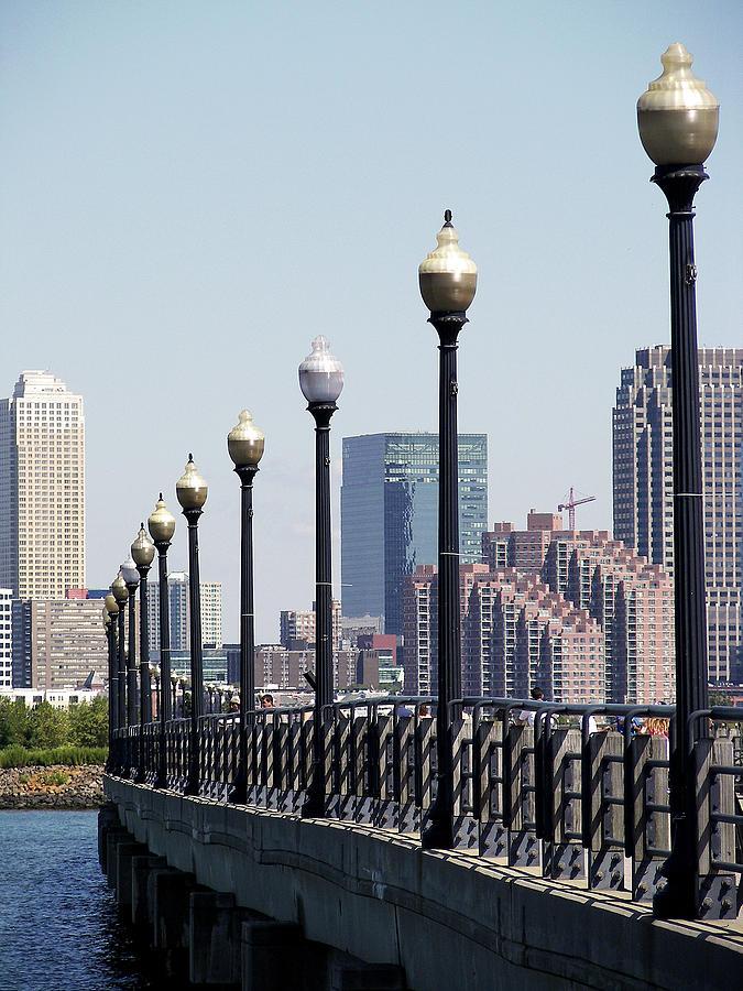 Manhattan Skyline from Promenade Liberty Park New Jersey by Toni Leland