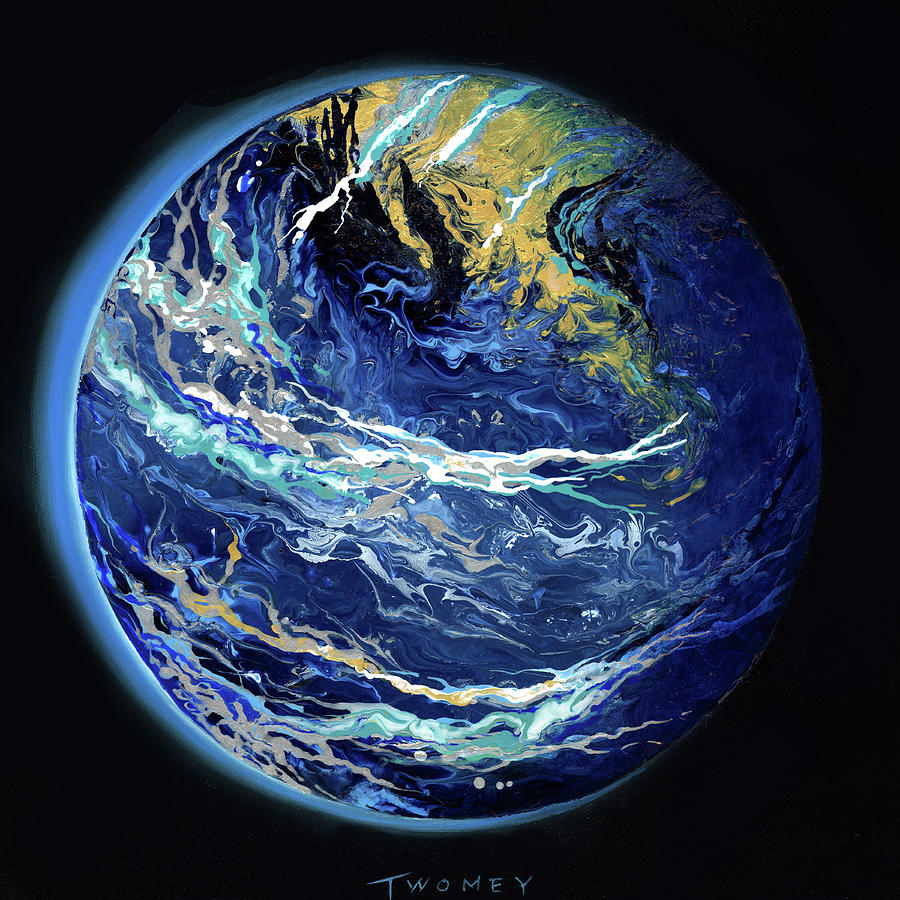 Planet Painting - Manifesto 1.0 Blue Marble Earth 5 by Catherine Twomey
