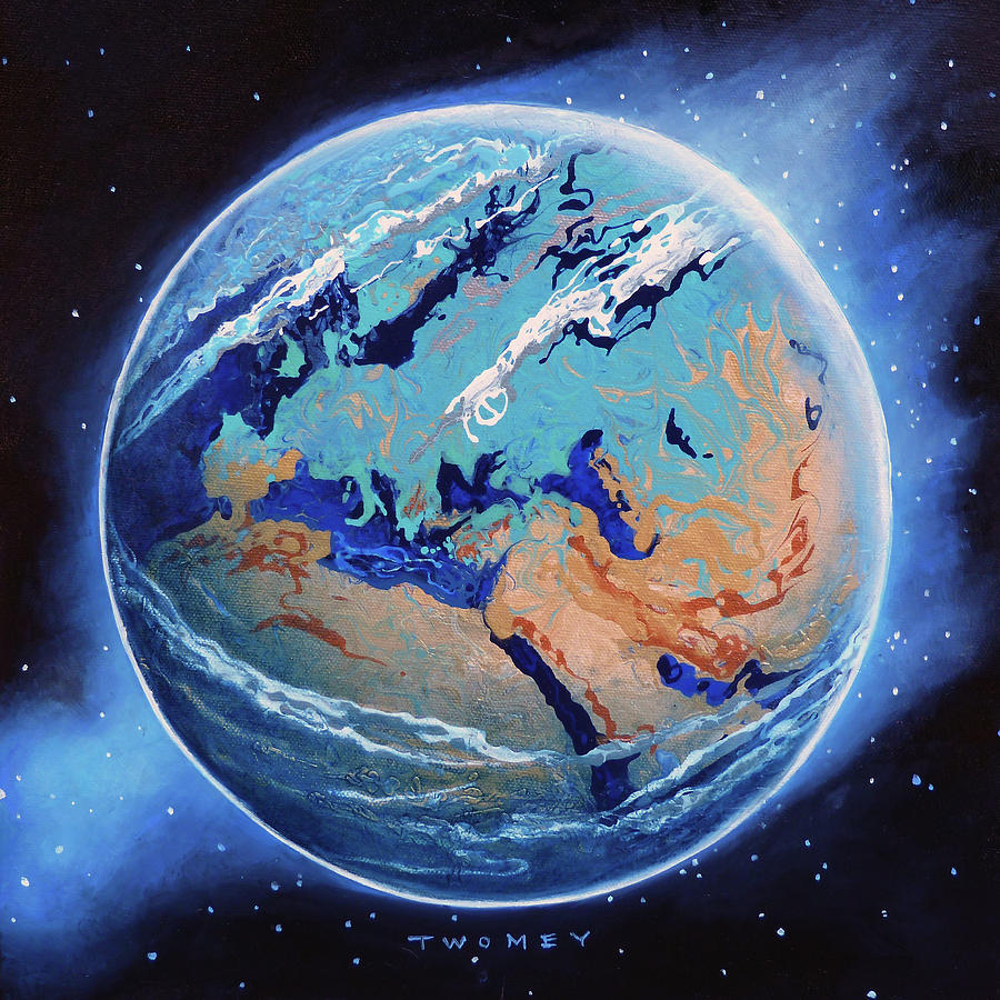 Seascape Painting - Manifesto 1.0 Blue Marble Earth, Europe, Africa et al by Catherine Twomey