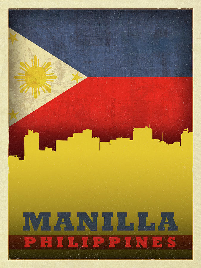 Manilla Mixed Media - Manilla Philippines City Skyline Flag by Design Turnpike