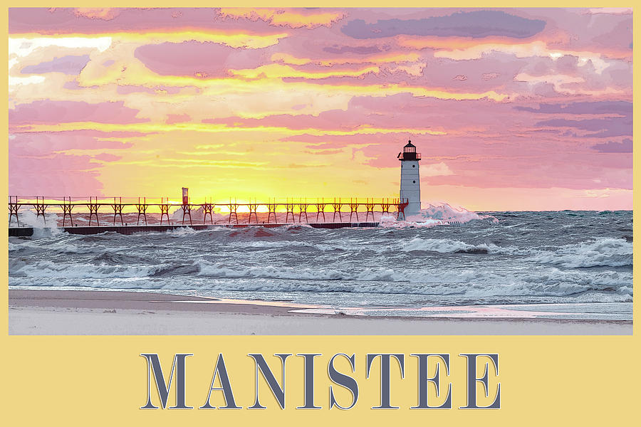 Manistee Pierhead Poster by Fran Riley