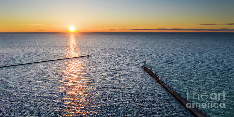 Manistee Photograph - Manistee Piers From The Sky by Twenty Two North Photography