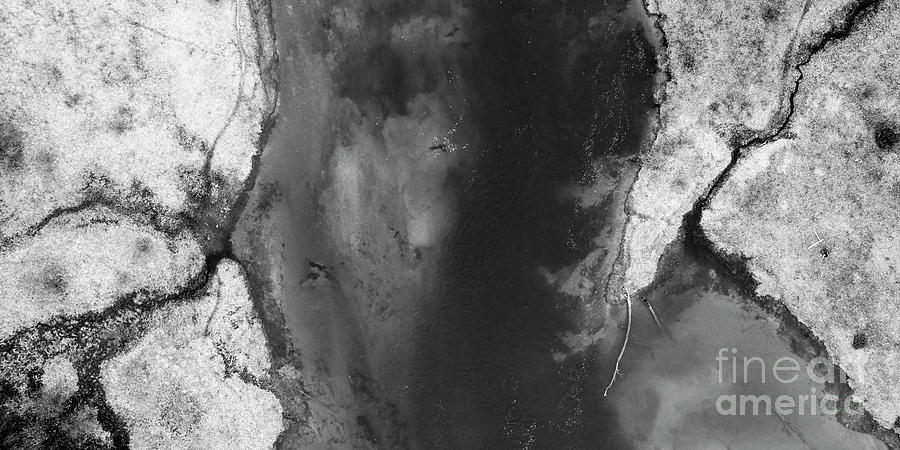 Manistee River Photograph - Manistee River Aerial Black And White Panorama by Twenty Two North Photography