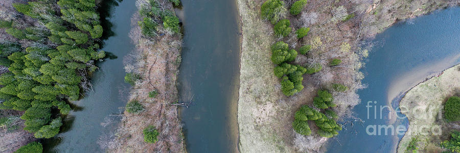 Manistee River Photograph - Manistee River Aerial Panorama by Twenty Two North Photography