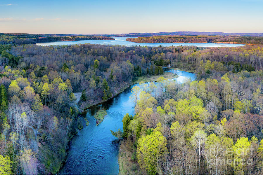 Manistee River Photograph - Manistee River Evening Aerial by Twenty Two North Photography