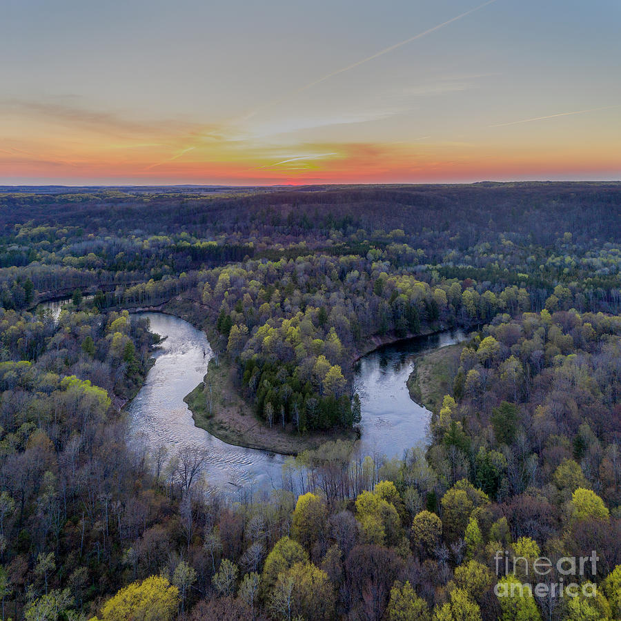 Manistee River Photograph - Manistee River Sunset Aerial Square by Twenty Two North Photography