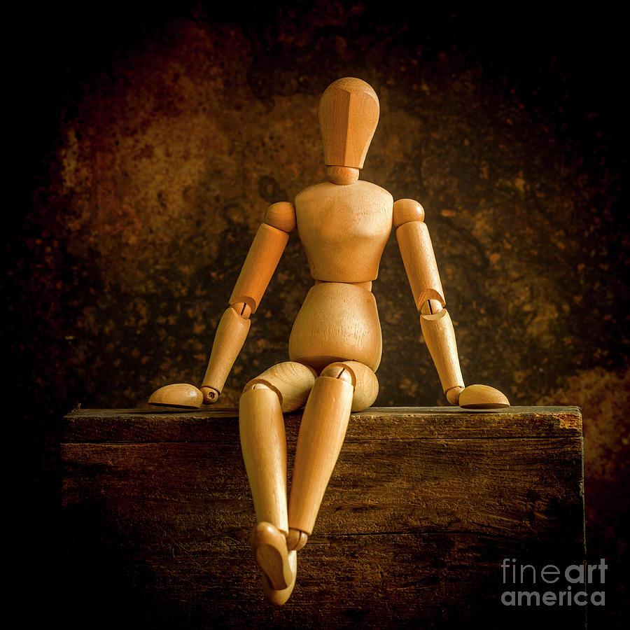 Two Photograph - Mannequins On A Wooden Box by Bernard Jaubert