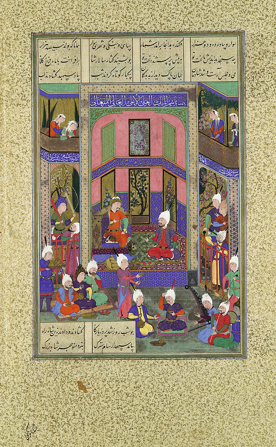'Manuchihr Welcomes Sam but Orders War upon Mihrab', Folio 80v from the Shahnama -Book of Kings- ... by Painting attributed to 'Abd al-'Aziz