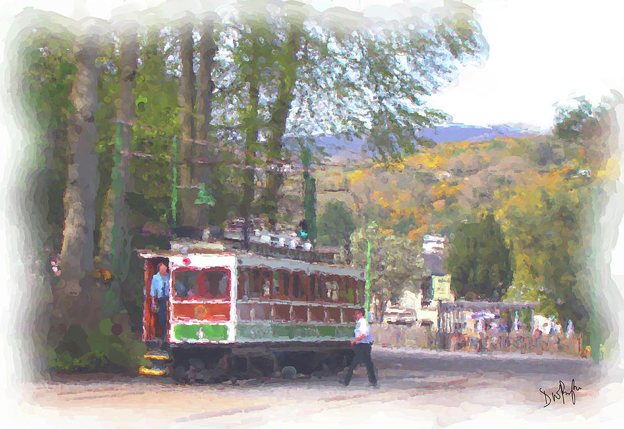 Manx Electric Railway Mountain Tram Leaves Laxey by Digital Painting