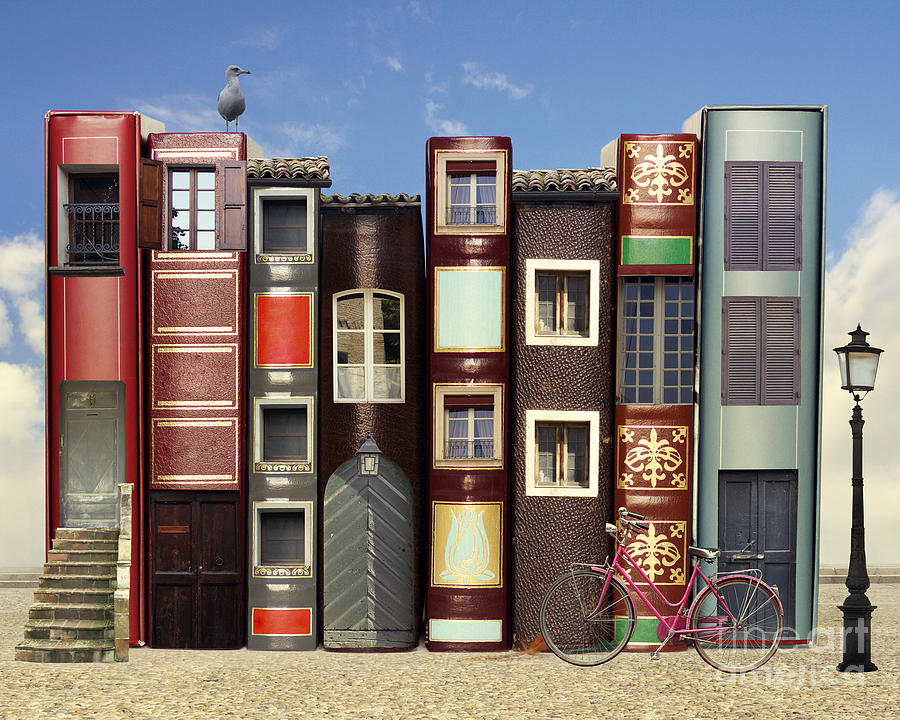 Door Digital Art - Many Books With Windows Doors Lamps by Valentina Photos