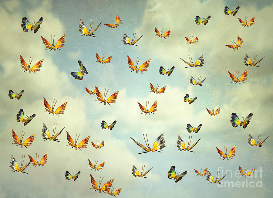 Flight Photograph - Many Colorful Butterflies Flying Into by Valentina Photos
