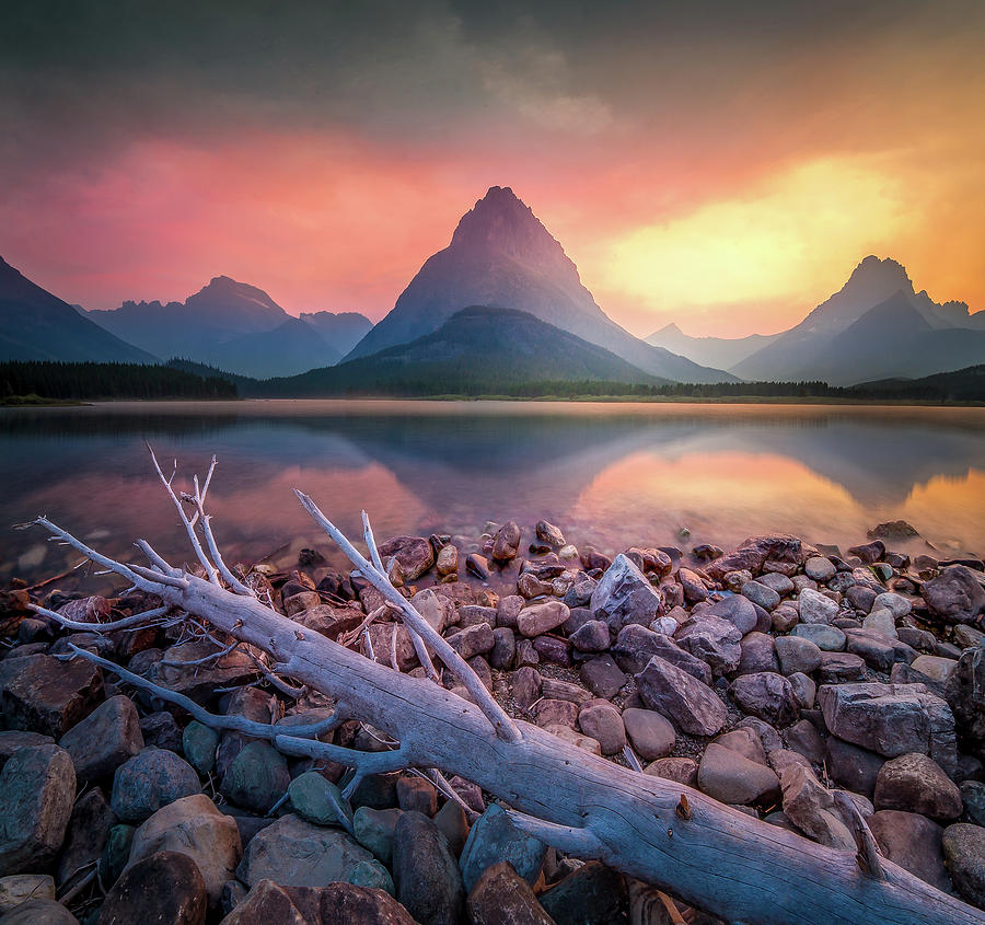Many Glacier Sunset / Swiftcurrent Lake, Glacier National Park  by Nicholas Parker