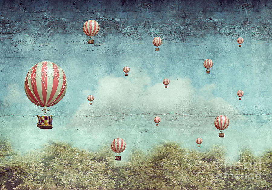 Forest Photograph - Many Hot Air Balloons Flying Over A by Valentina Photos