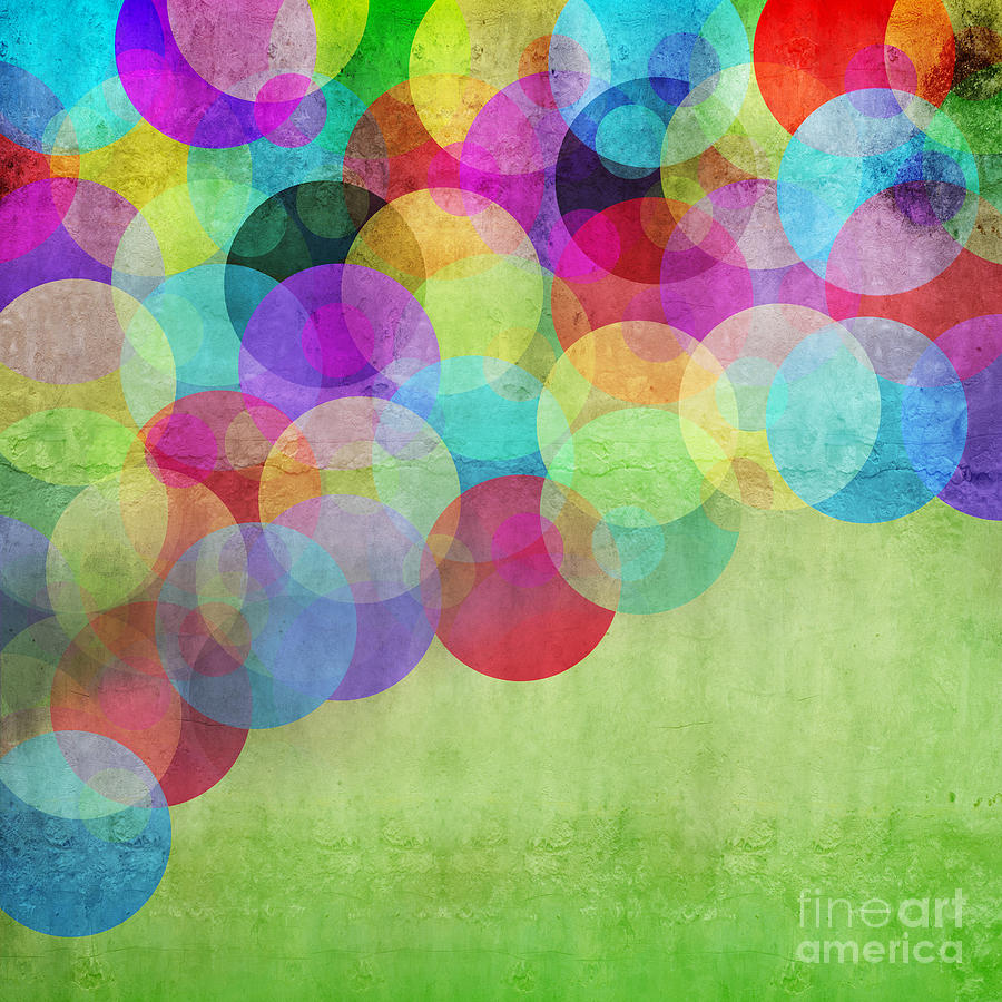 Template Digital Art - Many Vivid Color Circles On A Green by Valentina Photos