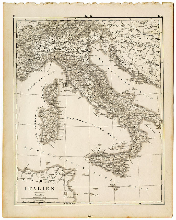 Map Italy 1840 Digital Art by Thepalmer