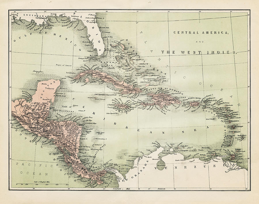 Map Od The Caribbean 1860 Digital Art by Thepalmer