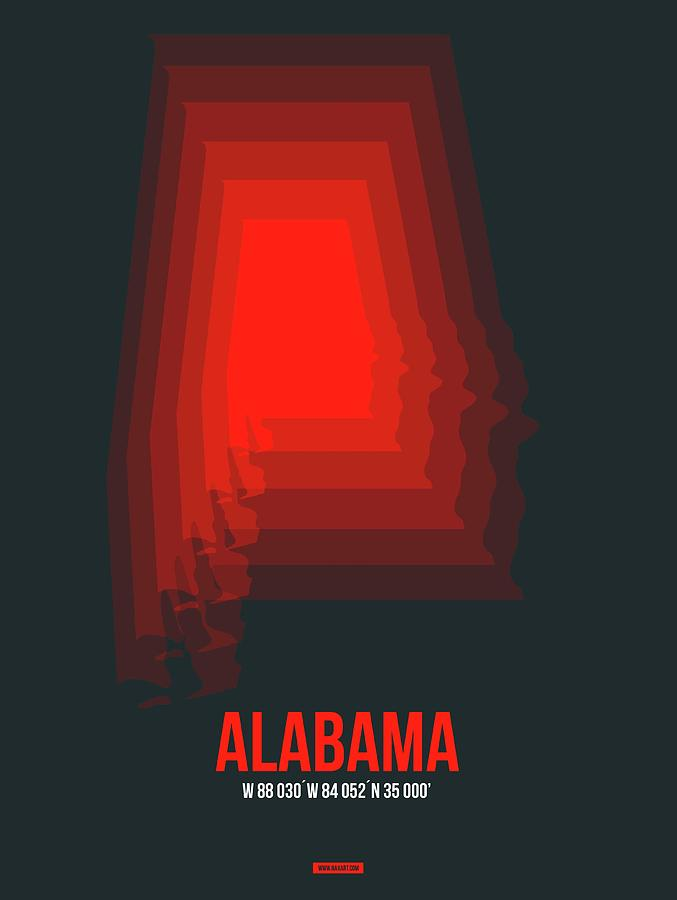 Alabama Digital Art - Map of Alabama by Naxart Studio