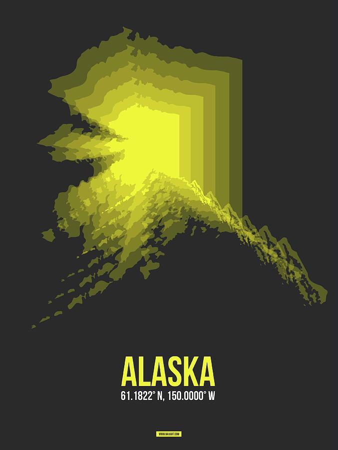 Alaska Digital Art - Map Of Alaska by Naxart Studio